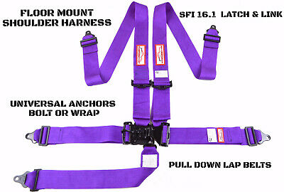 Purple Racing Harness Latch & Link 5 Point Floor Mount Racerdirect.net Sfi 16.1