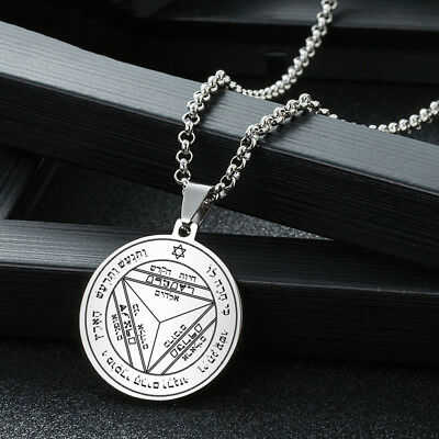 Pentacle Saturn Talisman Seal Solomon Kabbalah Hermetic Silver Necklace Pendant