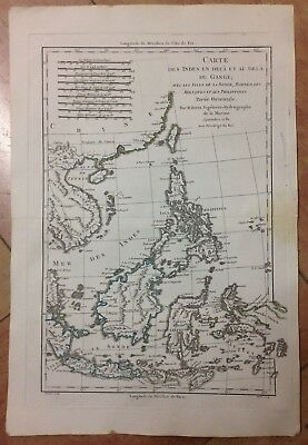 Southeast Asia Singapore Philippines Dated 1781 By Bonne Copper Engraved Map