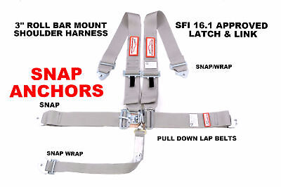 5 Point Racing Harness Gray Clip In Belt Snap Latch & Link Sfi 16.1 Approved