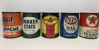 Gulf Pennzoil Quaker State Texaco STP Motor Oil Half Can Metal Wall Sign (NEW)