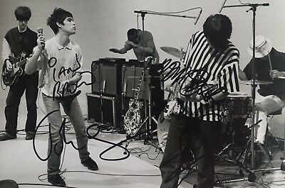 Original Stone Roses signed music 12x8 photo, inc Ian Brown, Mani, John, Wren, 1