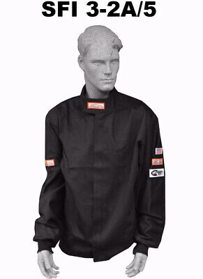 Fire Suit Sfi 5 Racing Jacket 3-2A/5 Rated Black Size Adult 4X Imsa Scca Nasa