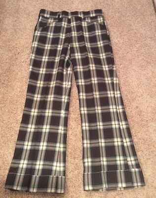 Farah Vintage 1970's Mens Brown & Green Plaid Trousers Pants with Cuffs 32 waist
