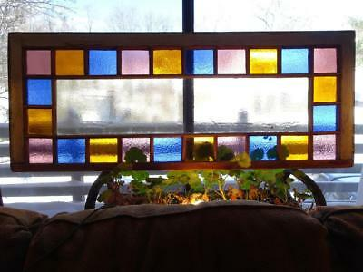 Large Vintage Antique Queen Ann Architectural Stained Glass Window