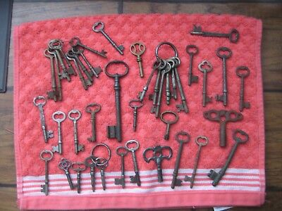 40 Vintage Cast Iron Skeleton keys, Jail Cell Keys? DIfferent Sizes and Shapes