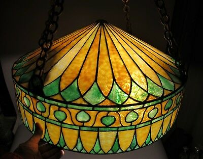 "Gorgeous Antique 24"" ARTS & CRAFTS Style Stained Glass Ceiling Lamp  c. 1920"