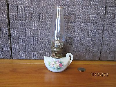 Miniature decorative oil lamp ceramic colorful floral glass top handle Japan