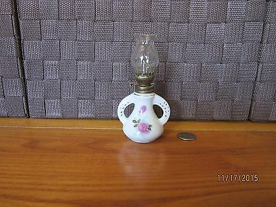 "Miniature decorative oil lamp ceramic colorful floral glass top handles 5"" tall"