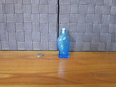 "Decorative miniature glass bottle blue fish figurine design 3"" tall"