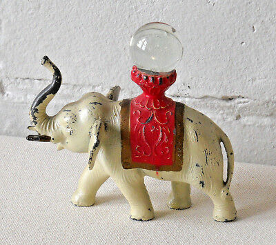 Antique Lead Circus Elephant With Crystal Ball Made In U.S.A. Animal Collectible
