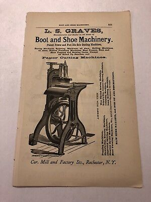 1871 Graves Boot & Shoe Machinery Rochester NY Advertisement #B-21