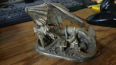"1994 Ral Partha Richard Kerr Rawcliffe Pewter "" Check Mate"" Dragon Statue"
