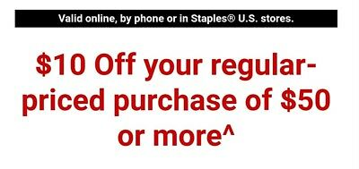 STAPLES COUPON $10 OFF $50 for use instore online or phone Order exp 1/22/18