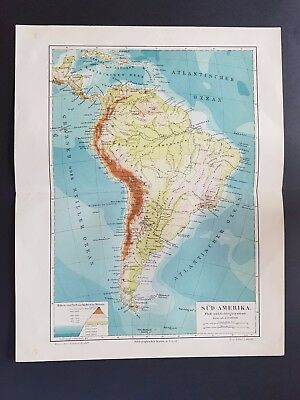 Antique Map 1905 German Meyers South America