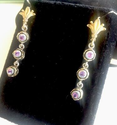Lagos Arcadia Pink Sapphire Sterling Silver 18 K Gold Earrings