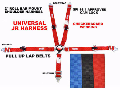 """Jr Dragster Universal Harness Cam Lock 2"""" Sfi 16-1 Pull Up Red Checkerboard"""