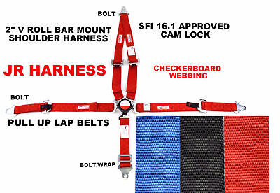 """Jr Dragster Racing Harness 5 Point 2"""" Sfi 16.1 V Mount Cam Lock Red Checkerboard"""