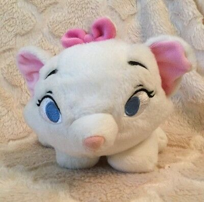 Disney Store Authentic Marie Aristocats Plush Floppy Stuffed Beanie Animal White