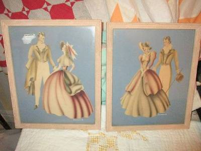 Pair of Matching Vintage Turner Print Victorian Couple Framed Picture Art Signed