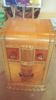 Vintage 1930`S 40`s  ART DECO WATERFALL NIGHTSTAND END TABLE CABINET