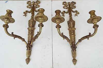 "Large Antique French Arrow Quiver Bow Lace 21.5""h  X 12 W  Bronze Wall Sconces"