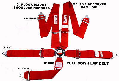 """Red Safety Harness Sfi 16.1 Racing 5 Point Seat Belt Floor Mount 3"""" Cam Lock"""