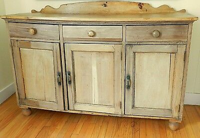 Beautiful 19th Century Scrubbed Pine Sideboard Purchased in England, circa 1860