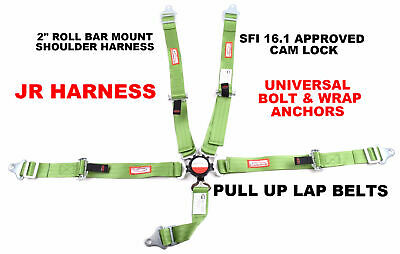 Quarter Midget Harness Sfi 16.1 5 Point Cam Lock Roll Bar Mount Belt Lime Green