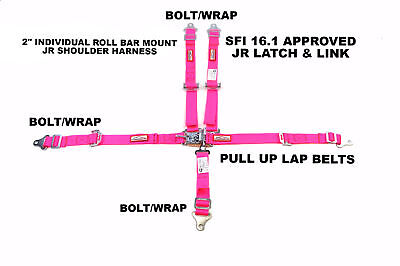 Quarter Midget Racing Harness Sfi 16.1 5 Pt Latch & Link Roll Bar Mount Hot Pink