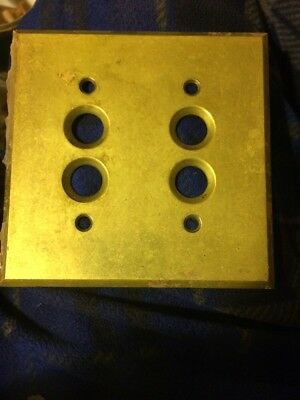 Vintage Brass Antique Double Push Button Wall Light Switch Plate Cover Perkins