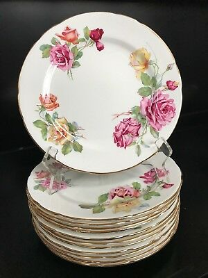 "12 ~ Hammersley ""Morgan's Rose""  Salad/Luncheon Plates Gold Trim & Roses"