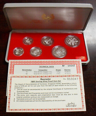1985 Republic of Singapore Sterling Silver 6 Coin Proof Set KM-PS18