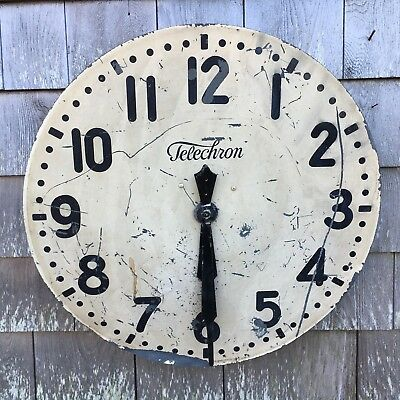 Vintage Large Telechron Industrial School Wall Clock With Edwards Clock Movement