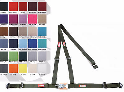 """Any Color 2"""" Latch & Link Y Racing Harness 3 Point Seat Belt Military Green"""