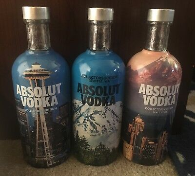 Absolut Vodka Seattle Special Collector's edition Trio- 3 750ml bottles cap&seal