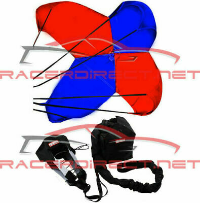 Jr Dragster Parachute Spring Loaded Blue & Red Drag Safety Chute