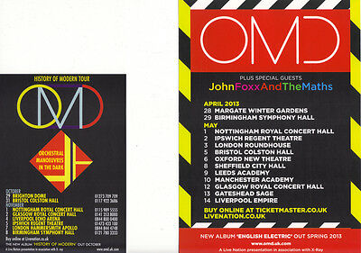 OMD  History Of Modern 2010 Tour  John Foxx And The Maths  2013  Promo Flyer x 2