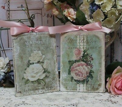 "~ Shabby Chic Vintage Country Cottage style Wall Decor Sign ""Maison"" Set of 2 ~"