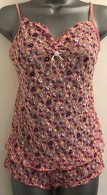 Victoria's Secret Pout Pink Floral All Lace Camisole & Knickers Set Small NWT