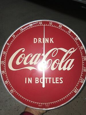 Man Cave Collector's Vintage 1950's DRINK IN BOTTLES Coca-Cola SIGN Thermometer