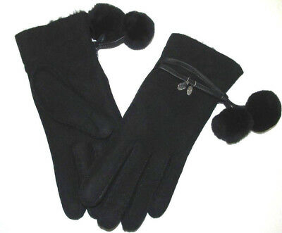 New Women Ugg Sheepskin Brita Gloves Black Pompom Hanging Charms Authentic 16133