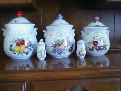 Set Of 3 Lenox Porcelain Canisters Orchard Collection 1993 Plus Salt/ Pepper