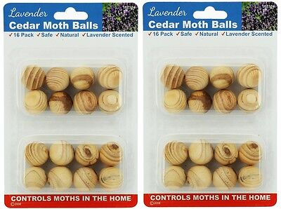 2 x 16pk Lavender Cedar Moth Balls Repellent Wardrobe Drawers Mothballs Protect