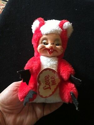 Vintage Rushton Rubber Face Plush White Red Squirrel Skunk I Love You Stuffed