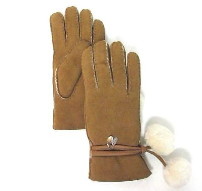 New Women Ugg Sheepskin Brita Gloves Chestnpompom Hanging Charms Authentic 16133
