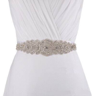 Crystal Beaded Satin Bridal Sash Belt Wedding Dress Belt