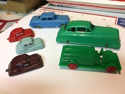 Vintage Antique Plastic Toy Cars. Lot of (6) six. See pics.
