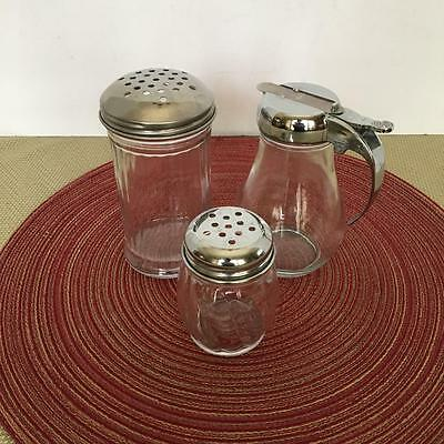 Glass Restaurant Parmesan~Red Pepper Shakers~Hatco Syrup Dispensor