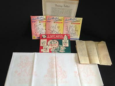 Vtg Lot Hot Iron Transfers Superior/ Aunt Martha's Tracing Tablet Stamped Quilt